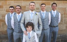 Enzoani for a Pretty Wedding with Art Deco touches in Chester. Grey suited groomsmen.  Image by Ragdoll Photography.  Read more: http://bridesupnorth.com/2015/07/22/enzoani-for-an-art-deco-wedding-in-chester/