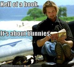 Image result for sawyer reading in Lost gif