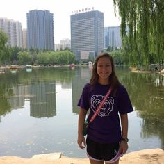 Student Stephanie B. dons her BearWear in Baotou, China, while working at an English language summer camp.