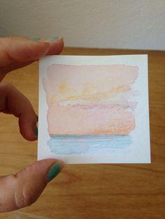 Mini Painting, Contemporary Abstract, Minimal Zen Landscape, Sea Scape, Pastel Decor, Shelf Decor, Desk Artwork, Watercolor Painting by ElissaSueWatercolors on Etsy