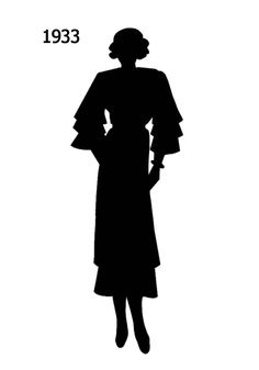 1930 to 1940 Free Black Silhouettes in Costume History - Fashion History, Costume Trends and Eras, Trends Victorians - Haute Couture Fashion Silhouette, Black Silhouette, 1930s Fashion, Vintage Fashion, Free Black, Black And White, Silhouette Pictures, Black Costume, Only Fashion