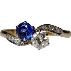 Edwardian Sapphire and Diamond Cross Over Ring