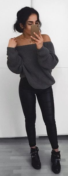 gray off shoulder sweater