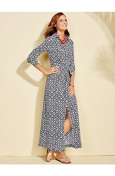 Redefine sophistication in our Mediterranean inspired Grecian print maxi shirt-dress.