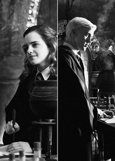 "When Hermionr and Draco were partnered up for Potions.  ""Why is she smiling at me like that?"""