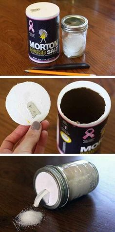 Cut the cardboard from the top of a salt pouring dispenser. Trim to fit inside the ring of a canning jar for a convenient container for sugar or coffee.