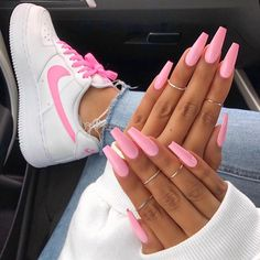 "If you're unfamiliar with nail trends and you hear the words ""coffin nails,"" what comes to mind? It's not nails with coffins drawn on them. It's long nails with a square tip, and the look has. Pink Manicure, Aycrlic Nails, Cute Nails, Coffin Nails, Nail Pink, Hot Pink Nails, Pastel Pink Nails, Pink Nail Colors, Yellow Nails"