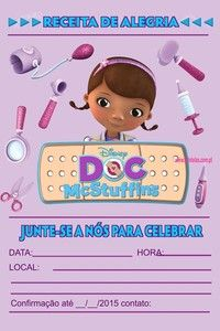 Convite digital personalizado Doutora Brinquedos 010 Doc Mcstuffins, Shapes, Birthday, Disney, Prints, Anna, Halloween, Party Invitations, Forest Party