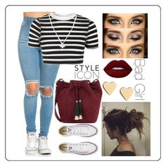 """""""Untitled #113"""" by i-love-modas on Polyvore featuring Topshop, Wolf & Moon, Loeffler Randall, Lime Crime, Converse and Lipsy"""