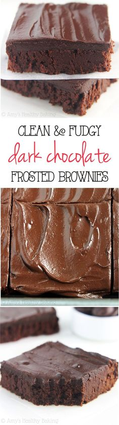 Clean-Eating Fudgy Dark Chocolate Frosted Brownies -- these skinny brownies don't taste healthy at all! They're insanely rich as easy as a box mix and only 100 calories!