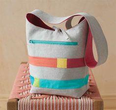Modern Color Block Bucket Bag PDF Sewing Pattern + Exposed Zipper Insertion Tutorial