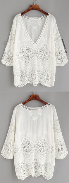 White Hollow Out Crochet Insert Embroidered Blouse