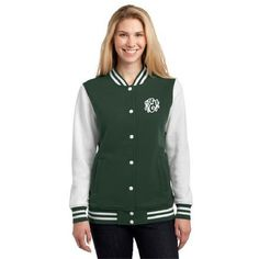 Embroidered Ladies Fleece Letterman Jacket Monogram ($36) ❤ liked on Polyvore featuring outerwear, jackets, black, women's clothing, black varsity jacket, black fleece jacket, embroidered jacket, embroidery jackets and monogrammed fleece jacket