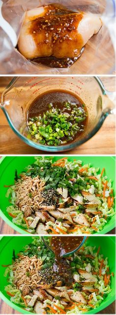 Grilled Ginger-Sesame Chicken Chopped Salad – this salad is delicious! Love the … Grilled Ginger-Sesame Chicken Chopped Salad – this salad is delicious! Love the flavor! Asian Recipes, Healthy Recipes, Kale Recipes, Recipies, Avocado Recipes, Damn Delicious Recipes, Masterchef, Good Food, Yummy Food