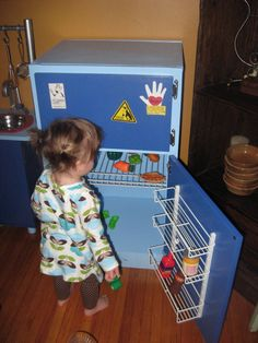 diy play fridge with magnetic paint and metal spice racks attached to door - wonder if dad could make this for us. Diy Play Kitchen, Play Kitchens, Diy Kids Furniture, Playhouse Furniture, Furniture Outlet, Bedroom Furniture, Furniture Design, Magnetic Paint, Ikea