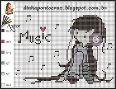 Cross Stitch Music, Cute Cross Stitch, Cross Stitch Designs, Cross Stitch Patterns, C2c Crochet, Crochet Chart, Filet Crochet, Alpha Patterns, Crafts To Do
