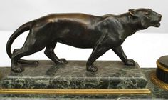19th c. French Bronze And Marble Panther Inkwell | From a unique collection of antique and modern inkwells at http://www.1stdibs.com/furniture/more-furniture-collectibles/inkwells/