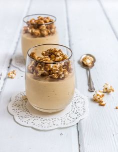 salted caramel mousse with caramel popcorn