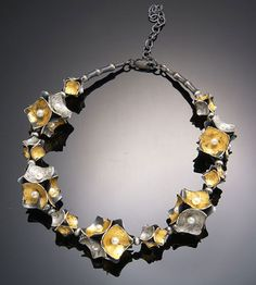 So Young Park Korea: Oriental hill series.  Oxidized silver, white pearls, 24k yellow gold leaf