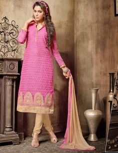 Pink Chanderi Churidar Suit 63107