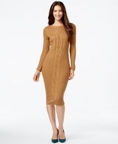 NY Collection Cable-Knit Bodycon Sweater Dress