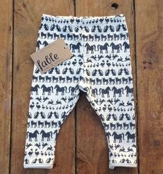 Hand Printed Organic Cotton Leggings - Navy Animals on Cream. $49.00, via Etsy.