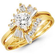 14K Yellow Gold Baguette Bouquet & Round CZ Engagement Ring Set