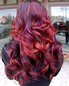 Thick hair with a dark red color and red tips with messy curls. 291   0Follow longhairstyles on Pinterest 291 More You May Like:     ...