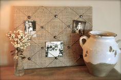 burlap+photo+board | Burlap Memory Board, Rustic Photo Board, Cottage-Chic Picture Board