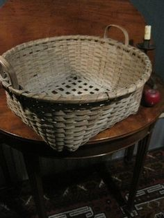 Antique 1800s New England Shaker Woven Black Ash Splint Cheese Basket w Carved & Notched Handles, from Mt. Lebanon Community Sold North Bayshore Antiques