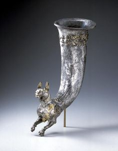Parthian Silver Gilt Rhyton with a Protome of a Lynx. Iran or Central Asia, late 1st century B.C. Silver with gilding. The Miho Museum Kyoto, Japan