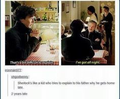 And then in His Last Vow, John's priority isn't getting the kid back home to his mom or helping the guy he hurt, it was getting Sherlock drug tested. Sherlock was right, John had a lot of practice raising a child! Sherlock Holmes Bbc, Sherlock Fandom, Sherlock John, Sherlock Bbc Funny, Sherlock Moriarty, Benedict Sherlock, Martin Freeman, Benedict Cumberbatch, Sherlock Cumberbatch