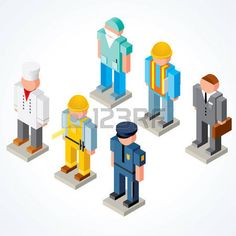 isometric people: Occupations icons - set of Isometric Peoples with various Uniforms, Clothes, Headwears