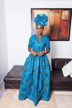 A stunning example of handmade African fashion, the Ronga maxi dress is bold, beautiful and perfect for showing off your curves. African Maxi Dresses, African Dresses For Women, African Attire, African Women, African Outfits, Chitenge Dresses, Style Africain, African Print Fashion, African Prints