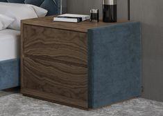 Mesitas de noche en madera y tapizadas- juego de 2 unidades: Mod: DORIANNE TERCIOPELO Bed Headboard Design, Bedroom Furniture Design, Modern Bedroom Design, Headboards For Beds, Bed Back Design, Bed Design, Wood Detail, Walnut Wood, Bedding Sets