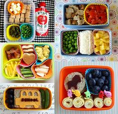 Bento Box Fun for Back-To-School Lunches... good idea using silicone cupcake cases to separate foods.