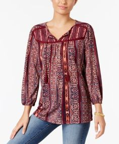 Style & Co Printed Peasant Top, Only at Macy's