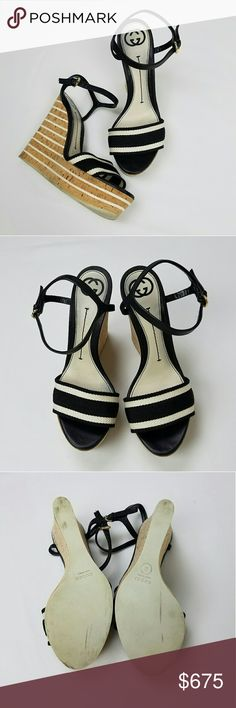 """GUCCI Rare Black and White Canvas Cork Wedge Heels Rare, authentic, black and white canvas, striped, cork wedge heels by Gucci. Leather ankle straps with gold colored closures.   Gently used condition.   Discolorations on soles and insoles, spot on insole under toe strap, small discoloration to back right heel, small knick to leather strap as seen in photos.   Size 38.  Measures approximately:  Heel - 5.5"""" Platform - 1.5"""" Insole - 9.75"""" L from heel to toe with the tape measure flat down on…"""