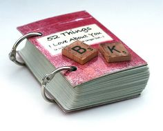 52 things I love about you with scrabble tiles of our initials.