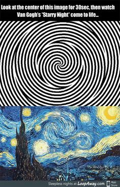 Procrastination Playground – An efficient way to waste time Van Gogh's starry night optical illusion Beste Gif, Wow Art, Mind Blown, Fun Facts, Funny Memes, Funny Gifs, Videos Funny, Dankest Memes, Funny Pictures