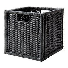 IKEA - BRANÄS, Basket, dark gray, , Perfect for newspapers, photos or other memorabilia.Easy to pull out and lift as the basket has handles.Each basket is woven by hand and is therefore unique.