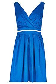 Blue Ribbon Waist Structured Dress