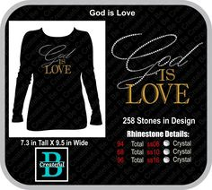 God is Love Digital Rhinestone Design BCD