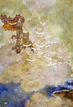 "EDMUND DULAC,Venus in a Chariot,Illustration fromThe Tempest    ""I met her deity      Cutting the clouds towards Paphos"""