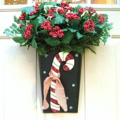 Christmas Wreath Candy Cane Welcome Door Pocket by AWorkofHeartSA