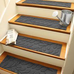 Wayfair Aubrielle Leaf Stair Tread in Charcoal