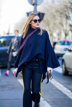 Olivia Palermo wearing a navy knit outside Chloe on March 2 2017 in Paris France #StreetStyle