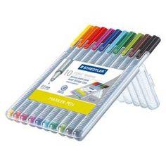 Staedtler   10ct Black  Fine tip Felt tip Marker Pen