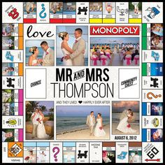 what a great idea for a wedding present! Could be used for a sports team or fami. what a great idea for a wedding present! Could be used for a sports team or family vacation or a scrapbooking project. Scrapbooking Layouts, Scrapbook Pages, Cute Gifts, Diy Gifts, Custom Monopoly, Monopoly Board, Monopoly Game, Wedding Games, Board Game Wedding