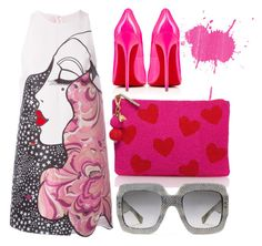 """Hot Pink"" by cherieaustin ❤ liked on Polyvore featuring Giamba, Christian Louboutin, Kate Spade, Gucci, katespade, christianlouboutin, Louboutin and gucci"